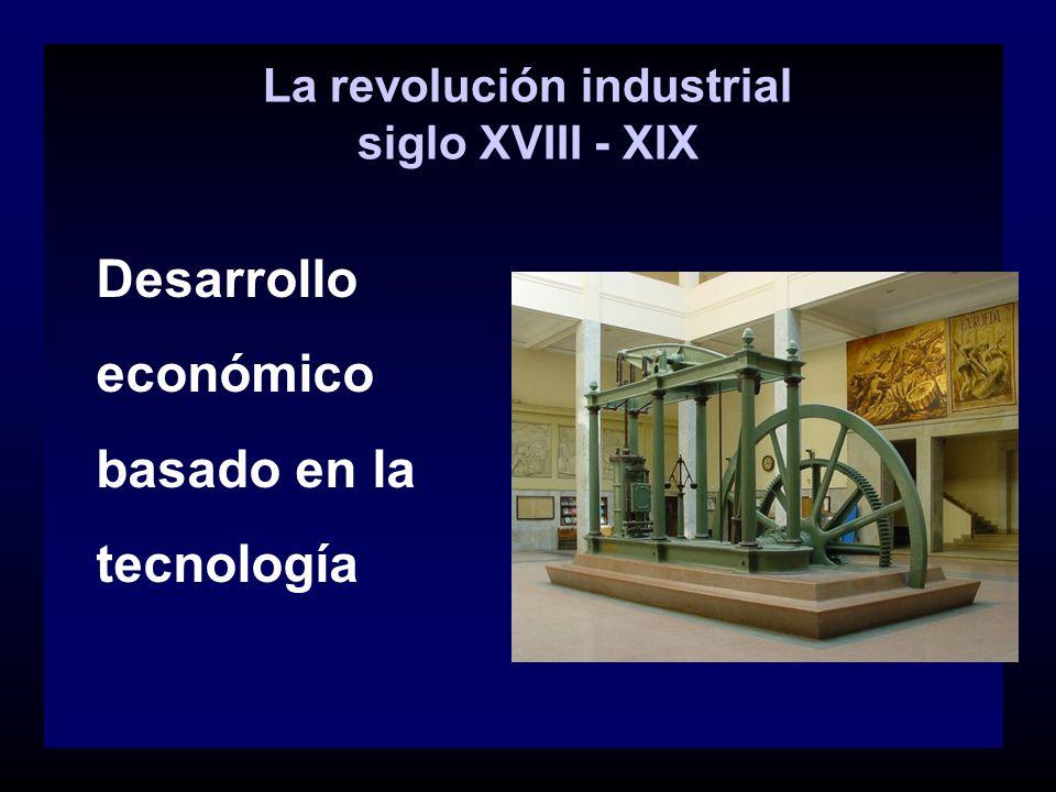 La revolución industrial siglo XVIII - XIX Desarrollo económico basado en la tecnología