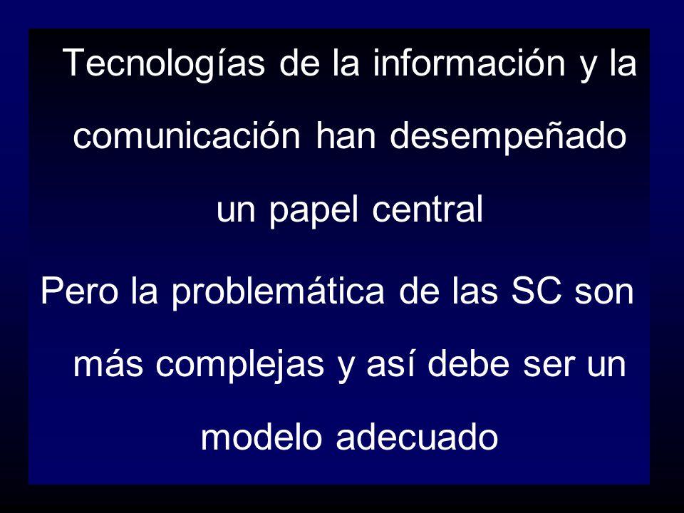 Tecnologías de la información y la comunicación han desempeñado un papel central Pero la problemática de las SC son más complejas y así debe ser un mo