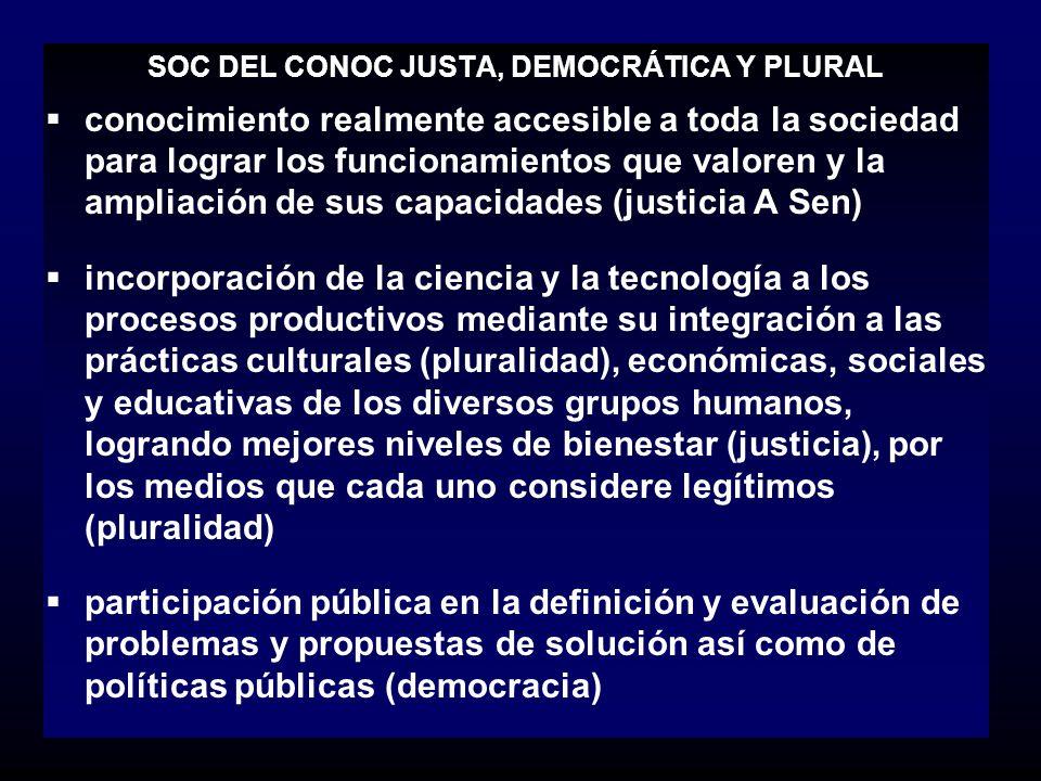 SOC DEL CONOC JUSTA, DEMOCRÁTICA Y PLURAL conocimiento realmente accesible a toda la sociedad para lograr los funcionamientos que valoren y la ampliac