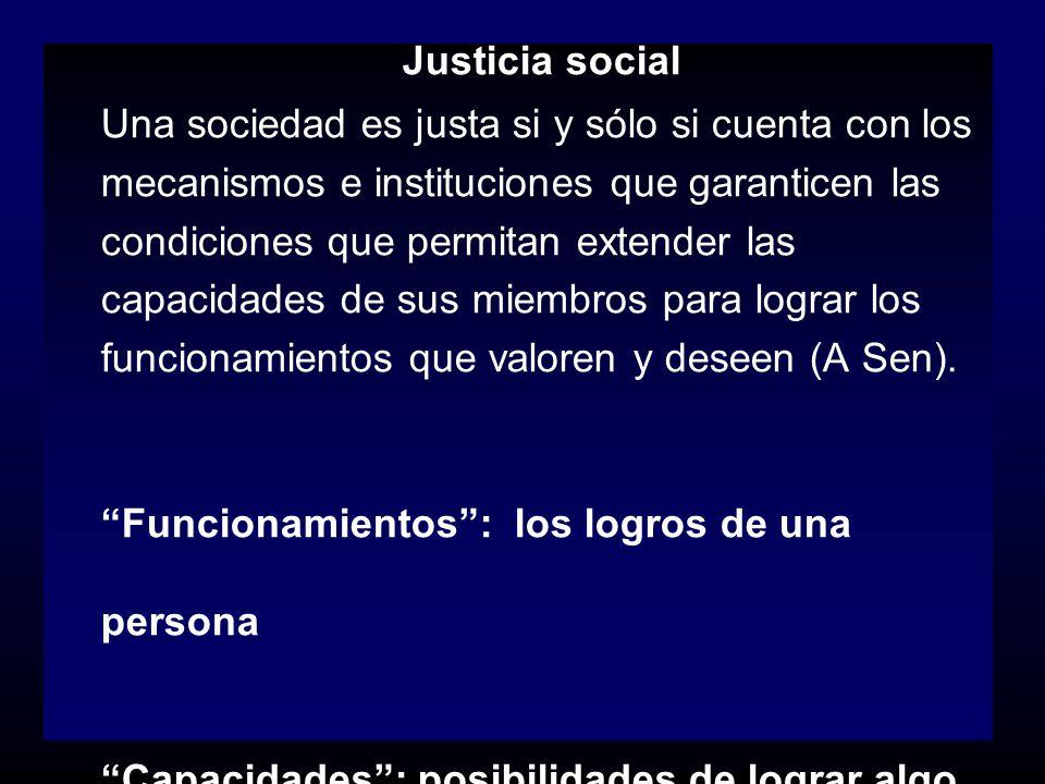 Justicia social Una sociedad es justa si y sólo si cuenta con los mecanismos e instituciones que garanticen las condiciones que permitan extender las