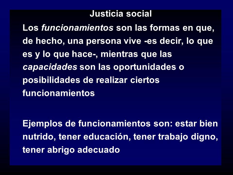 Justicia social Los funcionamientos son las formas en que, de hecho, una persona vive -es decir, lo que es y lo que hace-, mientras que las capacidade
