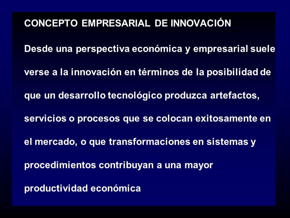 CONCEPTO EMPRESARIAL DE INNOVACIÓN Desde una perspectiva económica y empresarial suele verse a la innovación en términos de la posibilidad de que un d