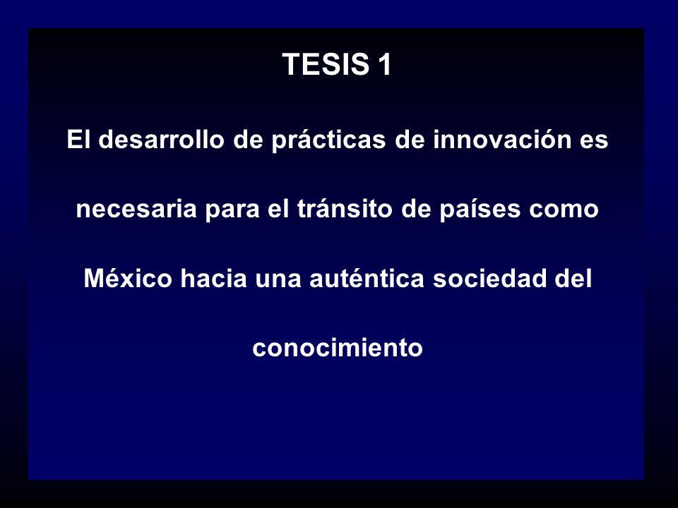 TESIS 1 El desarrollo de prácticas de innovación es necesaria para el tránsito de países como México hacia una auténtica sociedad del conocimiento