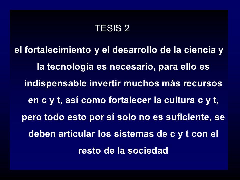 TESIS 2 el fortalecimiento y el desarrollo de la ciencia y la tecnología es necesario, para ello es indispensable invertir muchos más recursos en c y