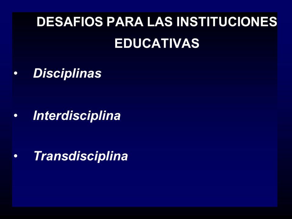 DESAFIOS PARA LAS INSTITUCIONES EDUCATIVAS Disciplinas Interdisciplina Transdisciplina