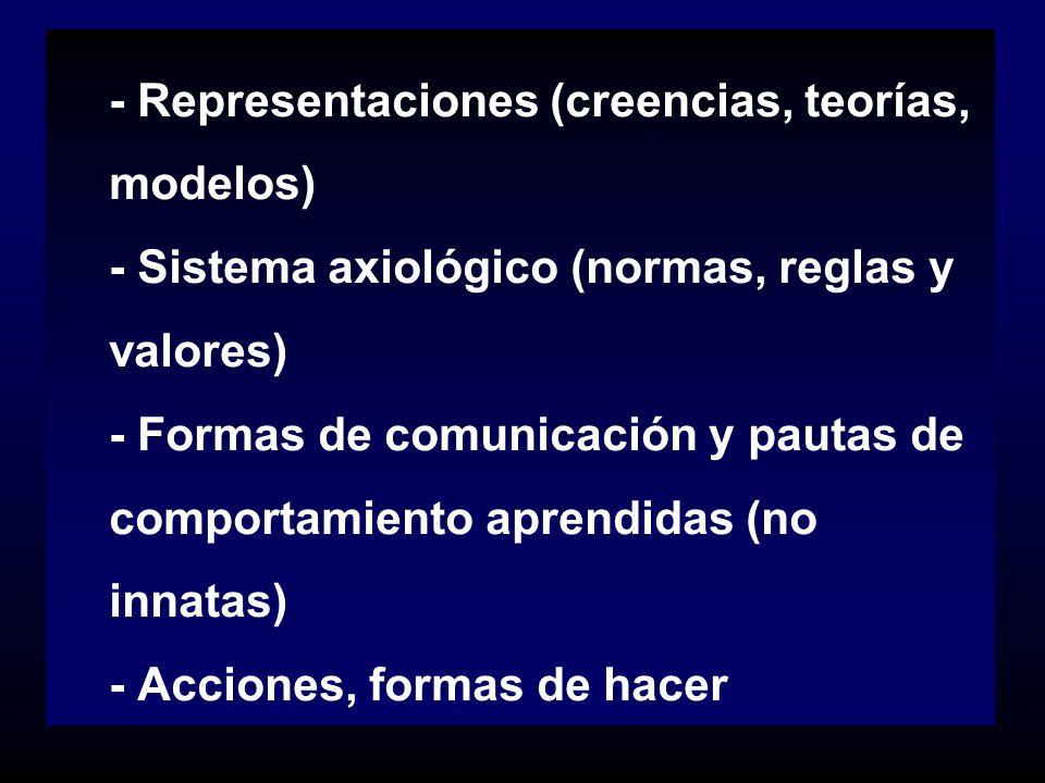 - Representaciones (creencias, teorías, modelos) - Sistema axiológico (normas, reglas y valores) - Formas de comunicación y pautas de comportamiento a
