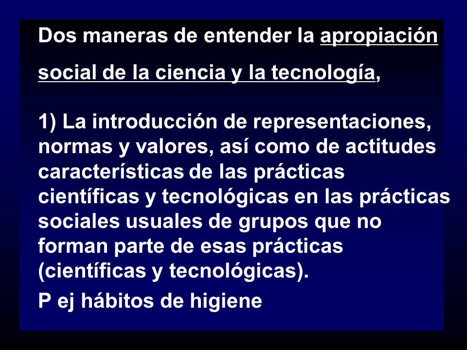 Dos maneras de entender la apropiación social de la ciencia y la tecnología, 1) La introducción de representaciones, normas y valores, así como de act