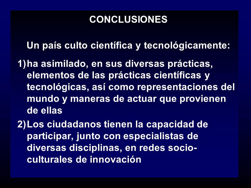 CONCLUSIONES Un país culto científica y tecnológicamente: 1)ha asimilado, en sus diversas prácticas, elementos de las prácticas científicas y tecnológ