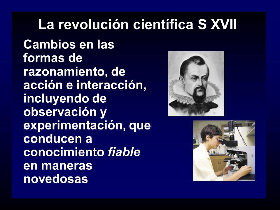 La revolución científica S XVII Cambios en las formas de razonamiento, de acción e interacción, incluyendo de observación y experimentación, que condu