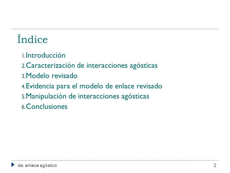 Índice de: enlace agóstico2 1. Introducción 2. Caracterización de interacciones agósticas 3. Modelo revisado 4. Evidencia para el modelo de enlace rev