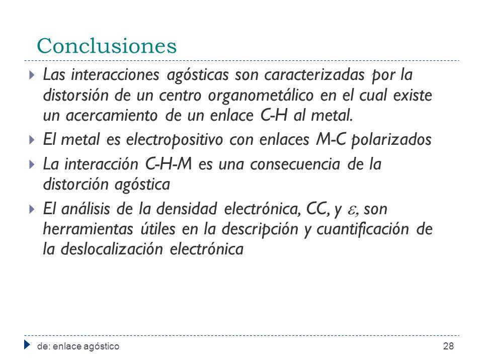 Conclusiones de: enlace agóstico28 Las interacciones agósticas son caracterizadas por la distorsión de un centro organometálico en el cual existe un acercamiento de un enlace C-H al metal.