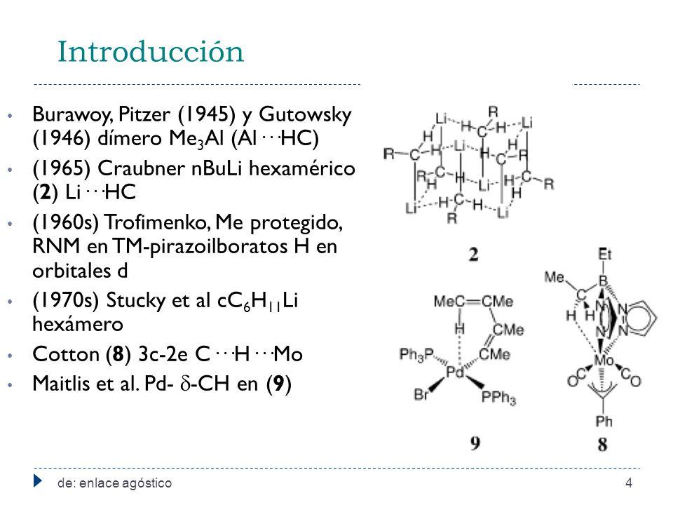 Introducción Burawoy, Pitzer (1945) y Gutowsky (1946) dímero Me 3 Al (Al···HC) (1965) Craubner nBuLi hexamérico (2) Li···HC (1960s) Trofimenko, Me protegido, RNM en TM-pirazoilboratos H en orbitales d (1970s) Stucky et al cC 6 H 11 Li hexámero Cotton (8) 3c-2e C···H···Mo Maitlis et al.