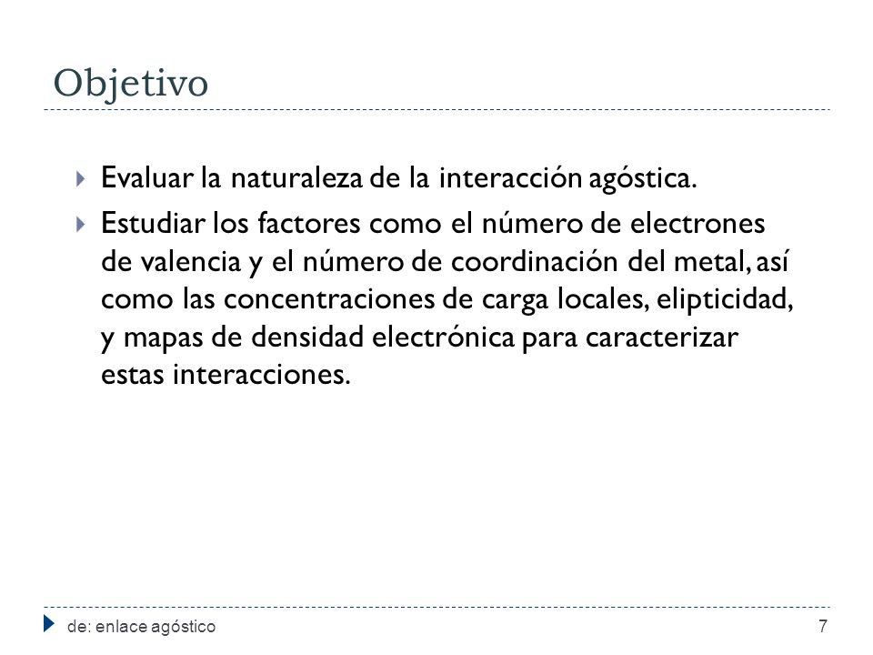 Objetivo de: enlace agóstico7 Evaluar la naturaleza de la interacción agóstica. Estudiar los factores como el número de electrones de valencia y el nú