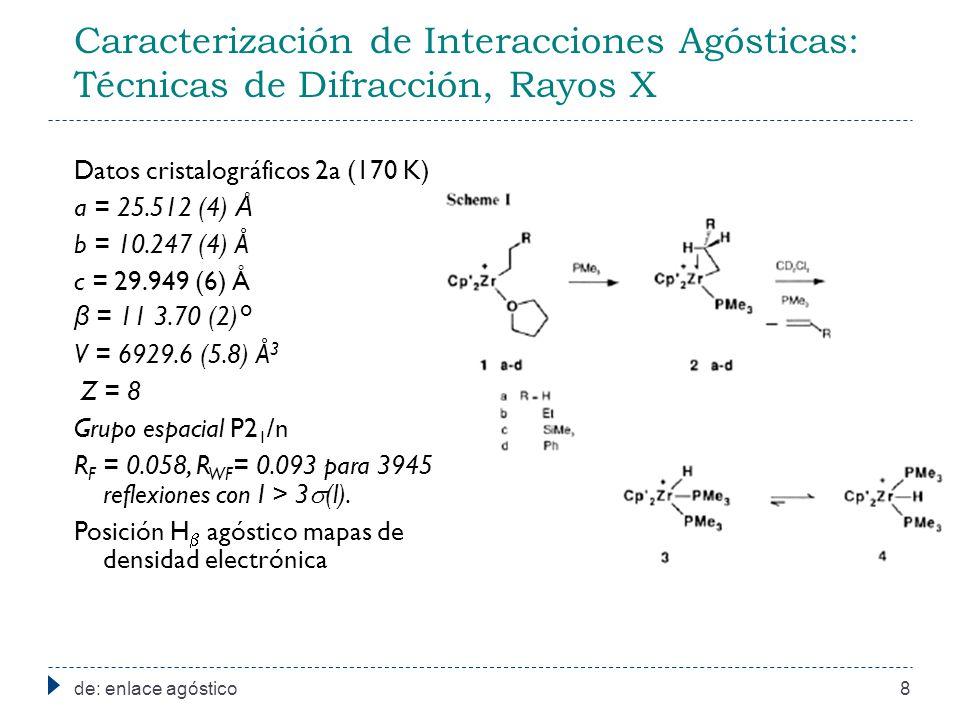 Caracterización de Interacciones Agósticas: Técnicas de Difracción, Rayos X de: enlace agóstico8 Datos cristalográficos 2a (170 K) a = 25.512 (4) Å b = 10.247 (4) Å c = 29.949 (6) Å β = 11 3.70 (2)° V = 6929.6 (5.8) Å 3 Z = 8 Grupo espacial P2 1 /n R F = 0.058, R WF = 0.093 para 3945 reflexiones con I > 3 (l).