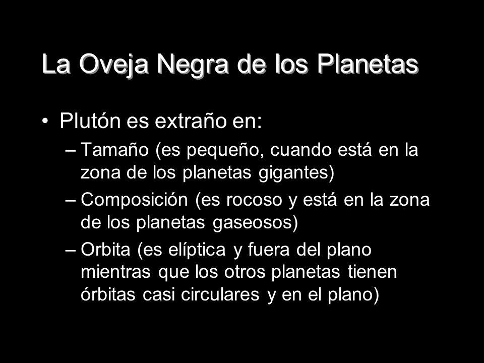 La Oveja Negra de los Planetas Plutón es extraño en: –Tamaño (es pequeño, cuando está en la zona de los planetas gigantes) –Composición (es rocoso y e