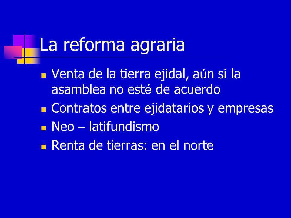 La reforma agraria Venta de la tierra ejidal, a ú n si la asamblea no est é de acuerdo Contratos entre ejidatarios y empresas Neo – latifundismo Renta