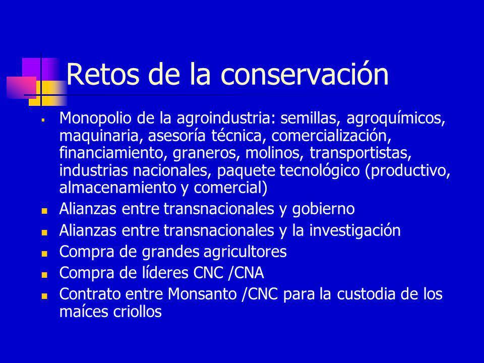 Retos de la conservación Monopolio de la agroindustria: semillas, agroquímicos, maquinaria, asesoría técnica, comercialización, financiamiento, graner