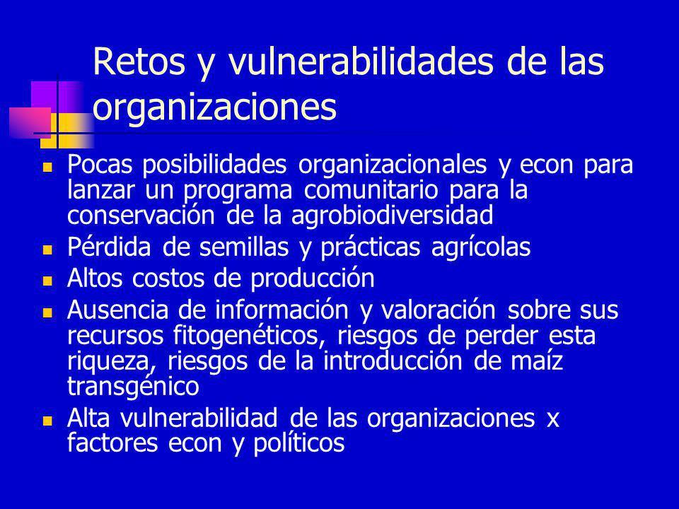 Retos y vulnerabilidades de las organizaciones Pocas posibilidades organizacionales y econ para lanzar un programa comunitario para la conservación de