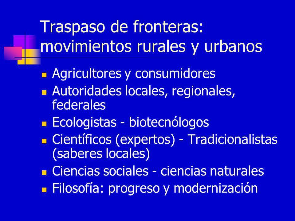 Traspaso de fronteras: movimientos rurales y urbanos Agricultores y consumidores Autoridades locales, regionales, federales Ecologistas - biotecnólogo