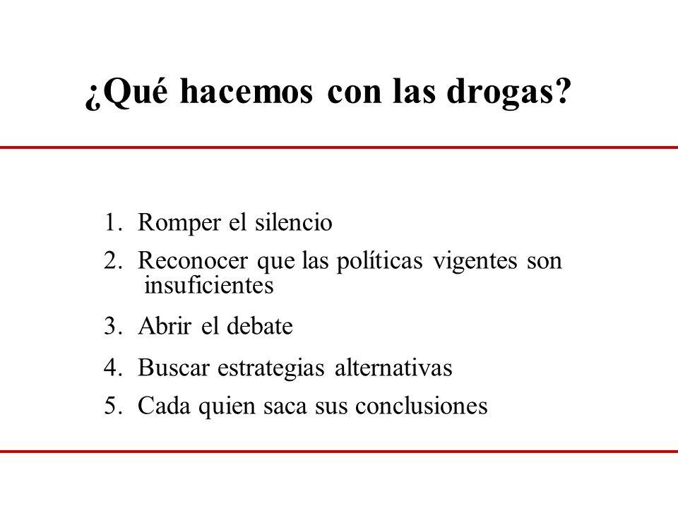 ¿Qué hacemos con las drogas? 1.Romper el silencio 2.Reconocer que las políticas vigentes son insuficientes 3.Abrir el debate 4.Buscar estrategias alte