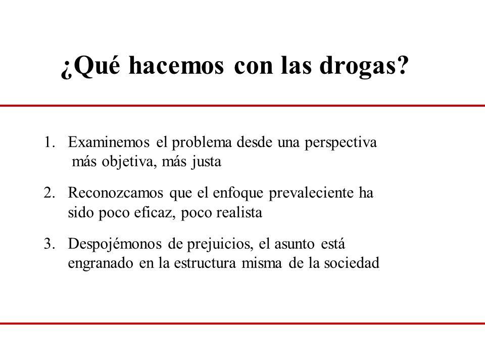 ¿Qué hacemos con las drogas? 1.Examinemos el problema desde una perspectiva más objetiva, más justa 2.Reconozcamos que el enfoque prevaleciente ha sid