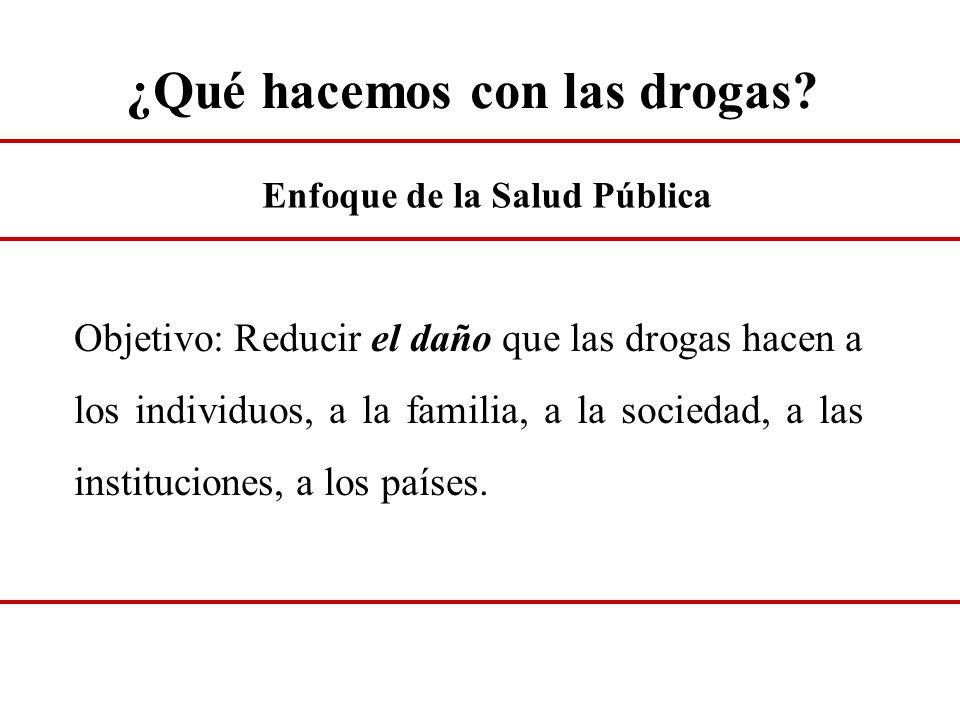 ¿Qué hacemos con las drogas? Objetivo: Reducir el daño que las drogas hacen a los individuos, a la familia, a la sociedad, a las instituciones, a los
