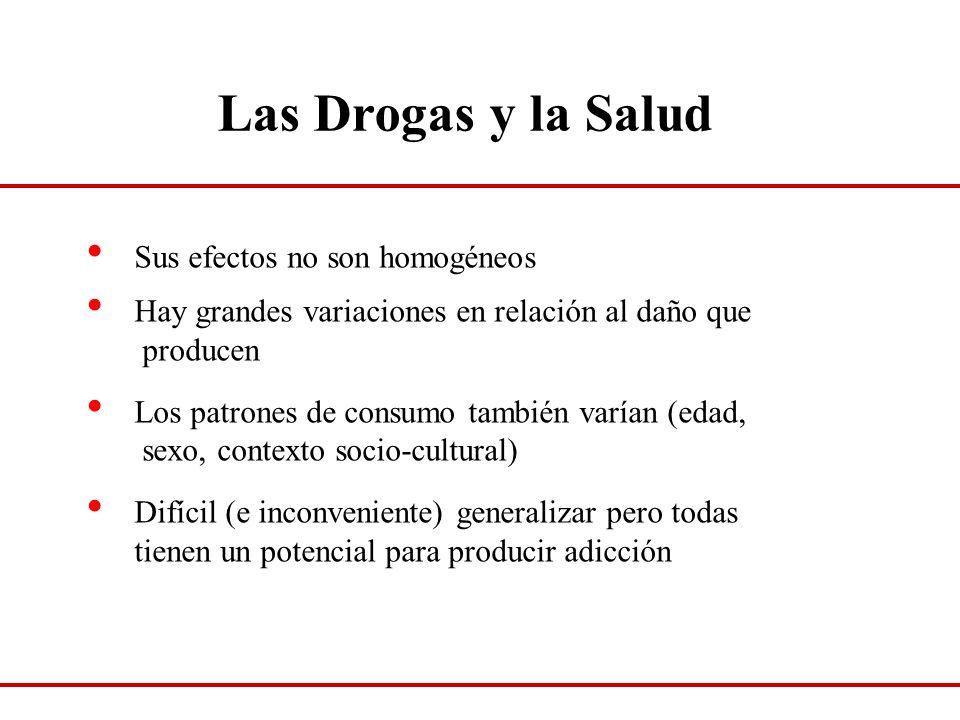 Las Drogas y la Salud Sus efectos no son homogéneos Hay grandes variaciones en relación al daño que producen Los patrones de consumo también varían (e