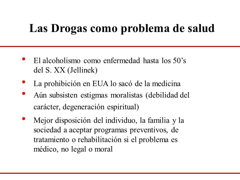 Las Drogas como problema de salud El alcoholismo como enfermedad hasta los 50s del S. XX (Jellinek) La prohibición en EUA lo sacó de la medicina Aún s
