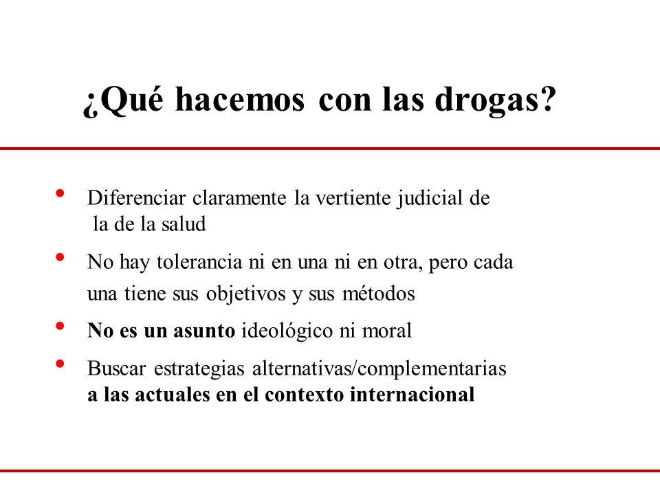 ¿Qué hacemos con las drogas? Diferenciar claramente la vertiente judicial de la de la salud No hay tolerancia ni en una ni en otra, pero cada una tien