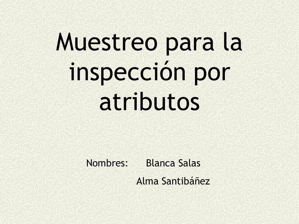 Muestreo para la inspección por atributos Nombres: Blanca Salas Alma Santibáñez