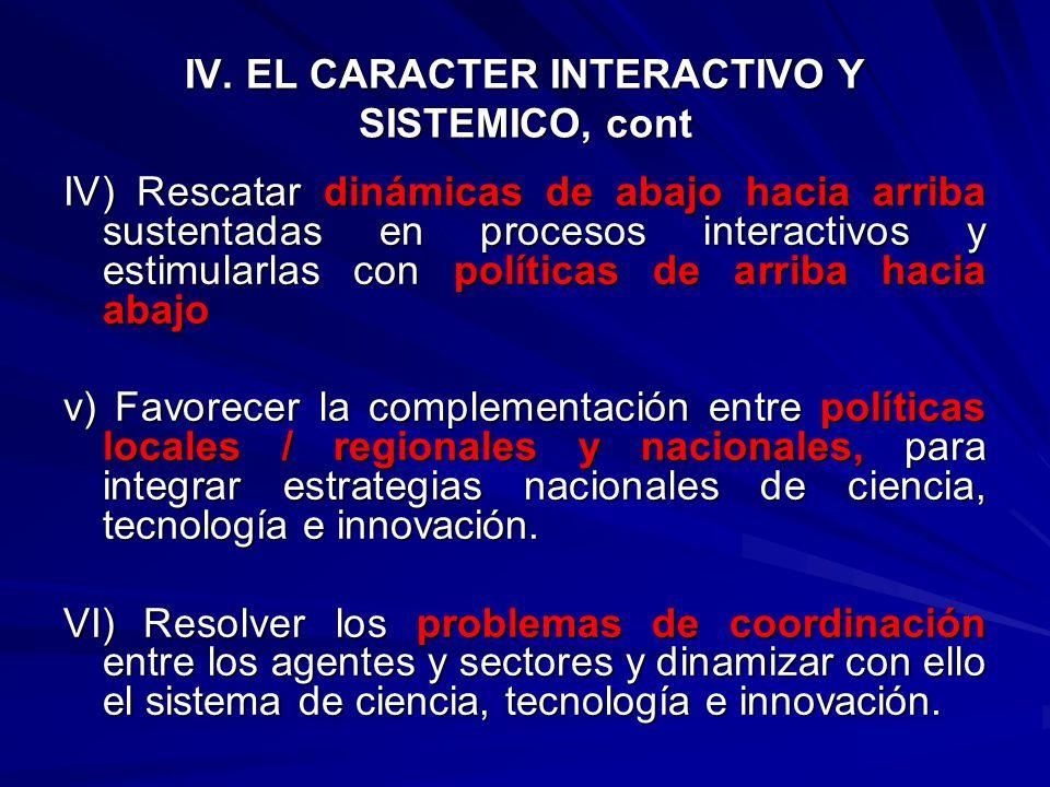 IV. EL CARACTER INTERACTIVO Y SISTEMICO i) Políticas que fomenten la formación de redes de colaboración e intermediación y la concurrencia entre los a
