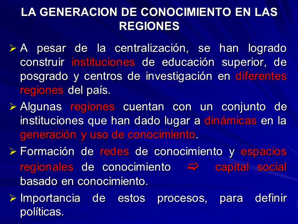 LAS IES EN LA GENERACIÓN, DISTRIBUCIÓN Y USO DE CONOCIMIENTO.