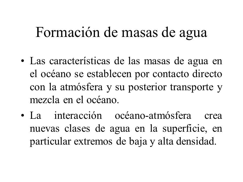 Formación de masas de agua Las características de las masas de agua en el océano se establecen por contacto directo con la atmósfera y su posterior tr