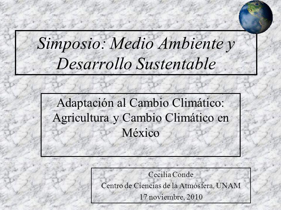 Simposio: Medio Ambiente y Desarrollo Sustentable Adaptación al Cambio Climático: Agricultura y Cambio Climático en México Cecilia Conde Centro de Ciencias de la Atmósfera, UNAM 17 noviembre, 2010
