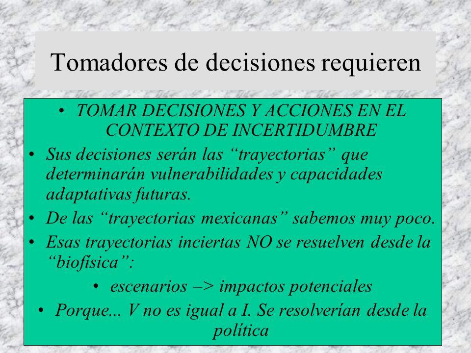 Tomadores de decisiones requieren TOMAR DECISIONES Y ACCIONES EN EL CONTEXTO DE INCERTIDUMBRE Sus decisiones serán las trayectorias que determinarán vulnerabilidades y capacidades adaptativas futuras.