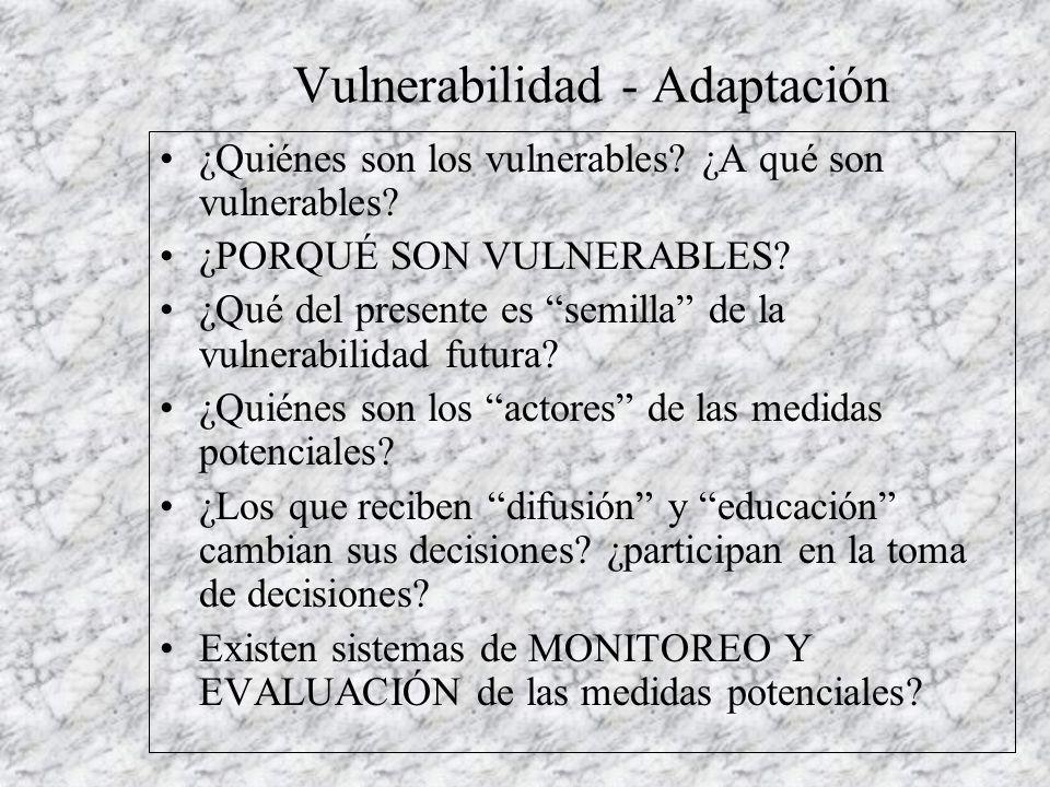 Vulnerabilidad - Adaptación ¿Quiénes son los vulnerables.