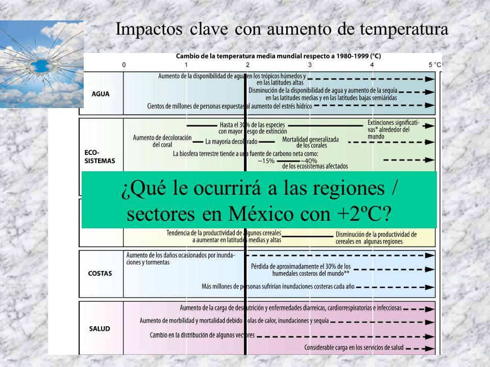 Producción de café en Veracruz Variables relevantes: Precipitación de primavera, temperatura de verano, temperatura de invierno, salario mínimo Sensibilidad de la producción a cambios en temperatura promedio Gay et al, 2006.