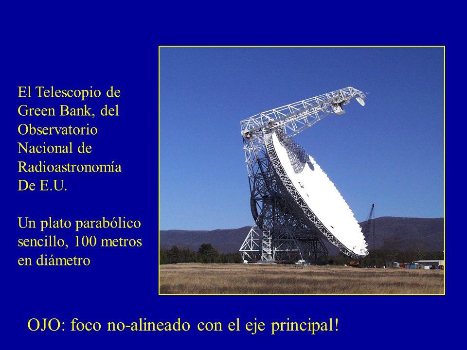 El Telescopio de Green Bank, del Observatorio Nacional de Radioastronomía De E.U. Un plato parabólico sencillo, 100 metros en diámetro OJO: foco no-al