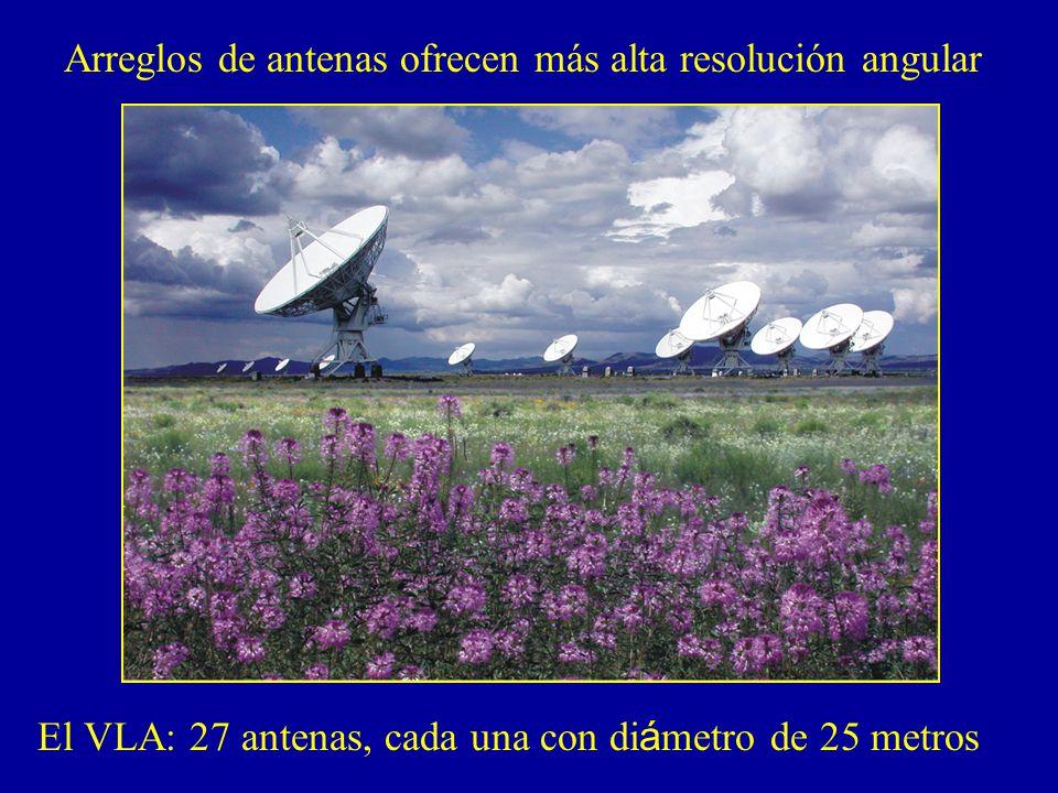 Arreglos de antenas ofrecen más alta resolución angular El VLA: 27 antenas, cada una con di á metro de 25 metros