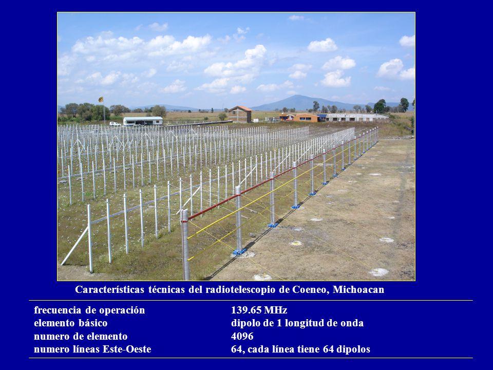 Características técnicas del radiotelescopio de Coeneo, Michoacan frecuencia de operación139.65 MHz elemento básicodipolo de 1 longitud de onda numero