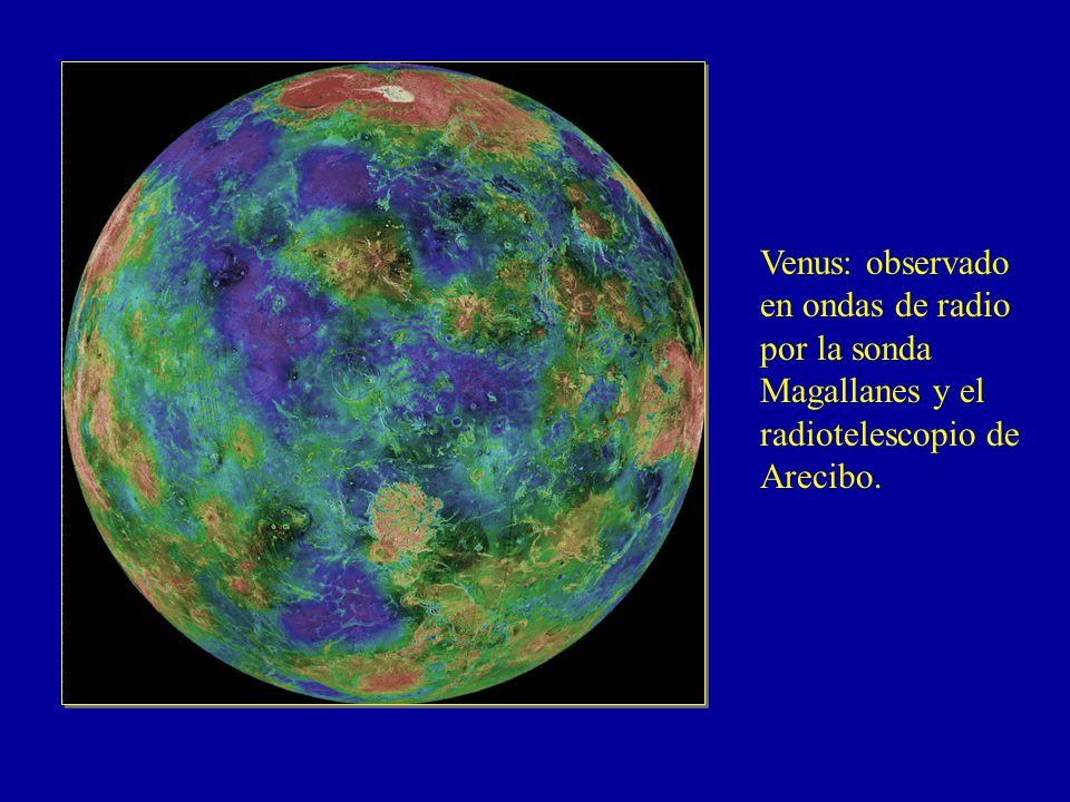 Venus: observado en ondas de radio por la sonda Magallanes y el radiotelescopio de Arecibo.