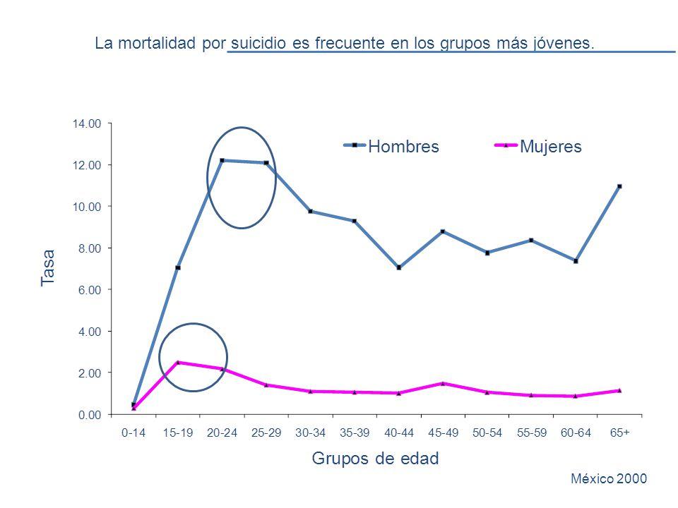 La mortalidad por suicidio es frecuente en los grupos más jóvenes. México 2000