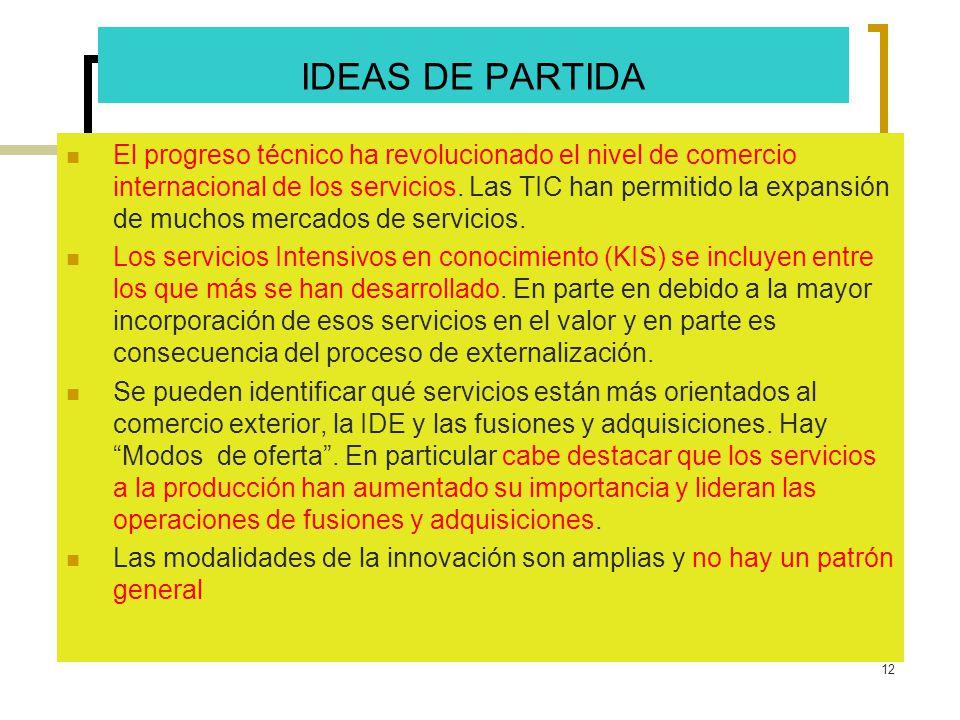 12 IDEAS DE PARTIDA El progreso técnico ha revolucionado el nivel de comercio internacional de los servicios. Las TIC han permitido la expansión de mu