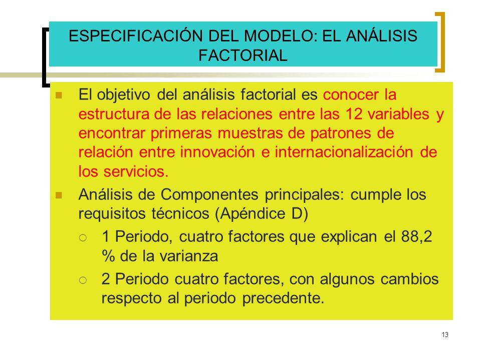 13 ESPECIFICACIÓN DEL MODELO: EL ANÁLISIS FACTORIAL El objetivo del análisis factorial es conocer la estructura de las relaciones entre las 12 variabl