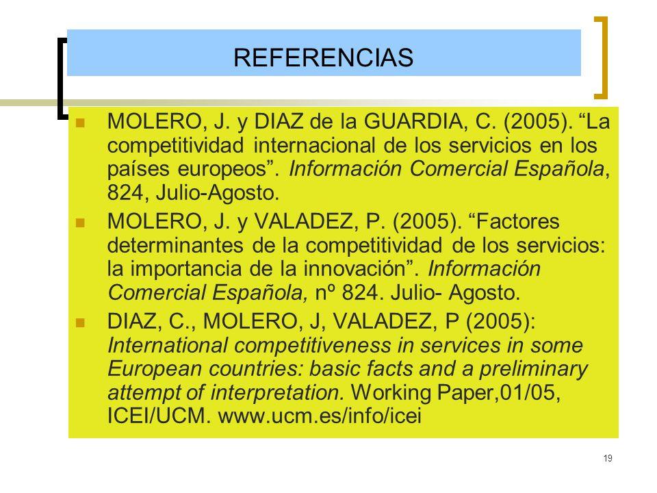 19 REFERENCIAS MOLERO, J. y DIAZ de la GUARDIA, C. (2005). La competitividad internacional de los servicios en los países europeos. Información Comerc