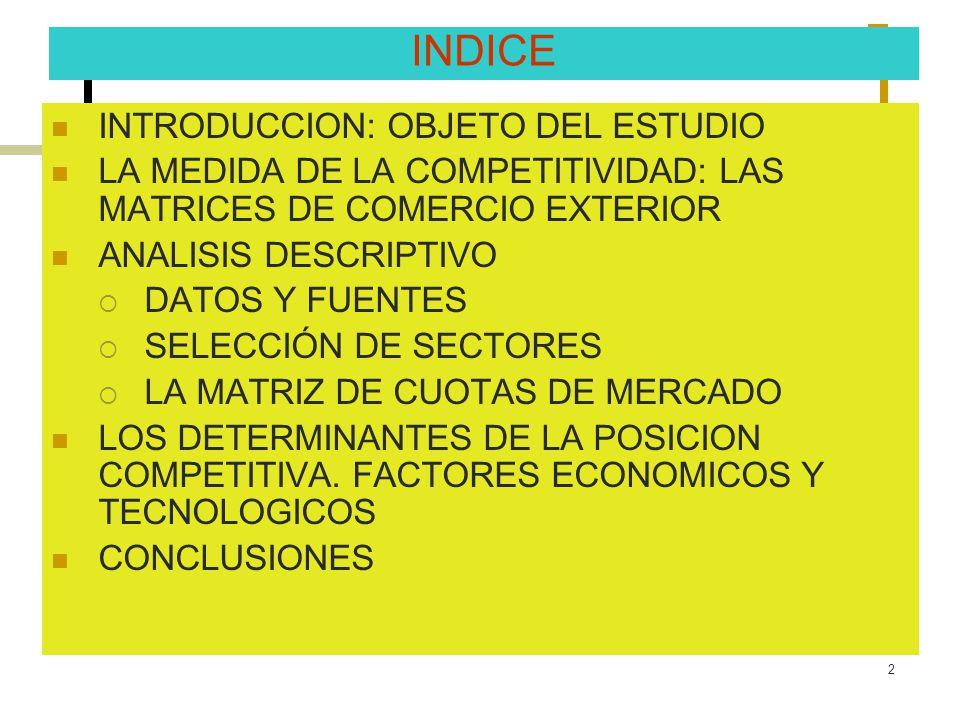 2 INDICE INTRODUCCION: OBJETO DEL ESTUDIO LA MEDIDA DE LA COMPETITIVIDAD: LAS MATRICES DE COMERCIO EXTERIOR ANALISIS DESCRIPTIVO DATOS Y FUENTES SELEC