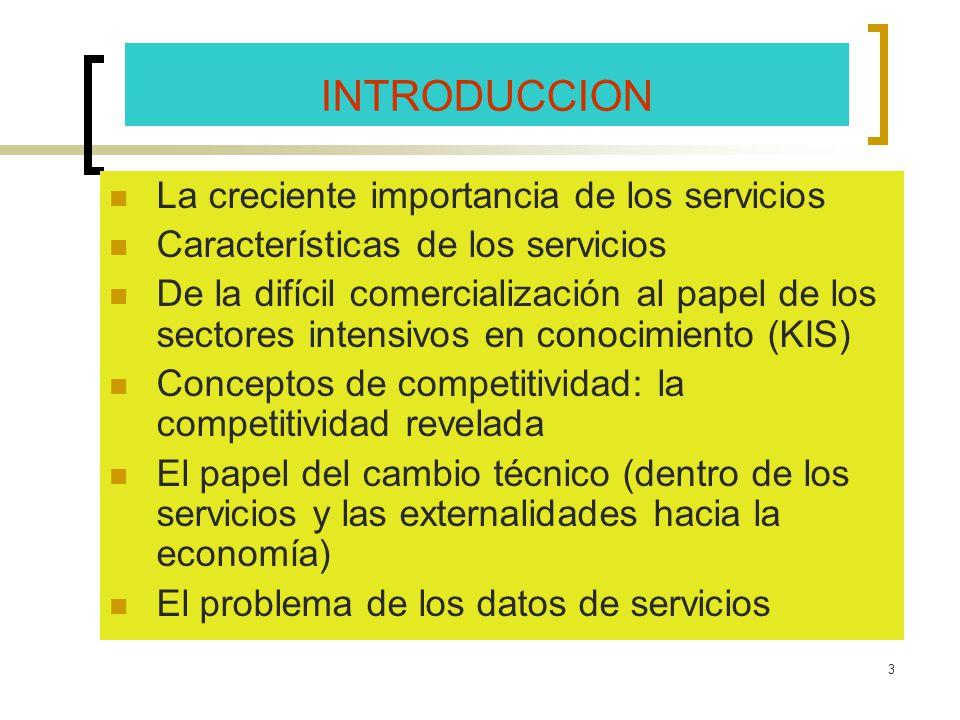 3 INTRODUCCION La creciente importancia de los servicios Características de los servicios De la difícil comercialización al papel de los sectores inte