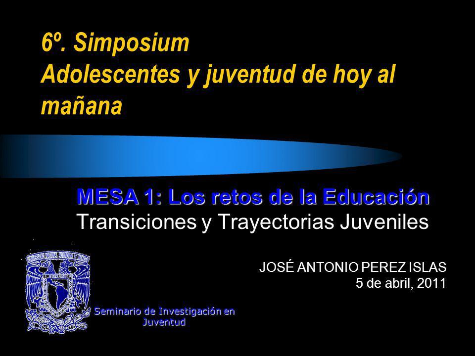 6º. Simposium Adolescentes y juventud de hoy al mañana MESA 1: Los retos de la Educación Transiciones y Trayectorias Juveniles JOSÉ ANTONIO PEREZ ISLA