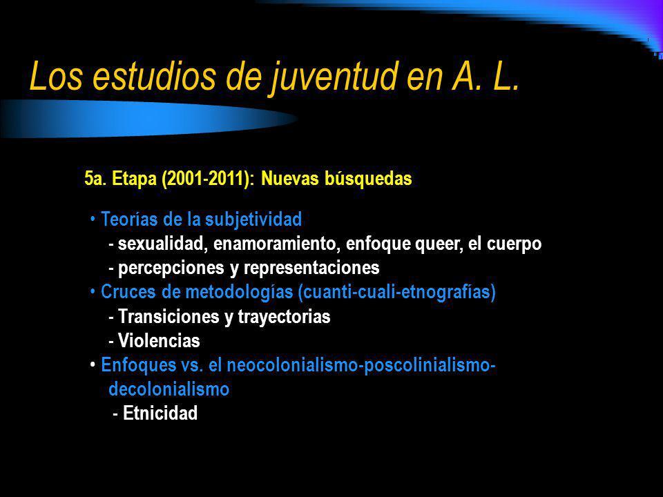5a. Etapa (2001-2011): Nuevas búsquedas Teorías de la subjetividad - sexualidad, enamoramiento, enfoque queer, el cuerpo - percepciones y representaci