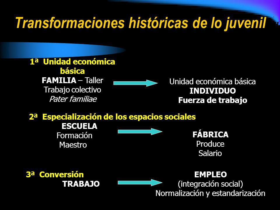 Transformaciones históricas de lo juvenil 1ª Unidad económica básica FAMILIA – Taller Trabajo colectivo Pater familiae Unidad económica básica INDIVID
